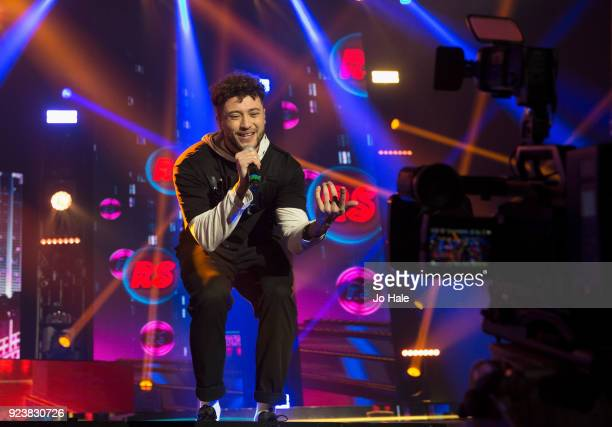 Myles Stephenson of RakSu performs on stage at X Factor Live Tour at SSE Arena on February 24 2018 in London England