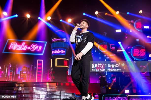 Myles Stephenson of RakSu performs on the X Factor Live tour on February 19 2018 in Cardiff United Kingdom