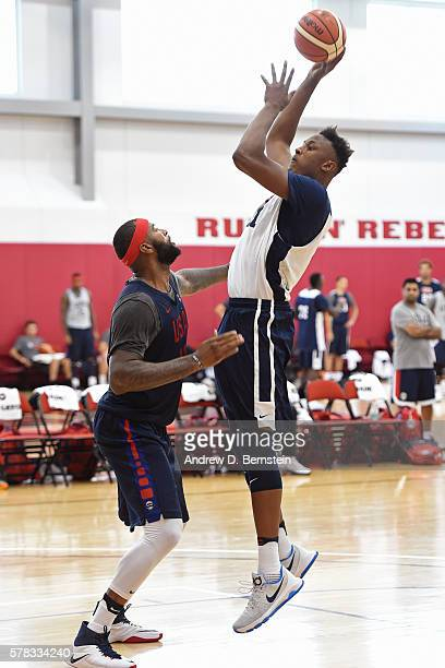 Myles Turner and DeMarcus Cousins of the USA Men's National Team practice on July 20 2016 at Mendenhall Center on the University of Nevada Las Vegas...