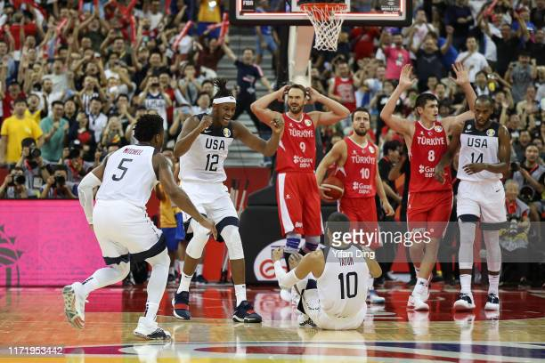 Myles Turner celebrates after Cedi Osman of Turkey fouls on Jayson Tatum of USA at the last seconds during the 1st round match between USA and Turkey...