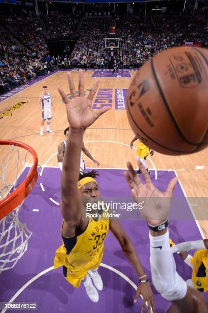 Myles Turner of the Indiana Pacers attempts to block the shot against the Sacramento Kings on December 1 2018 at Golden 1 Center in Sacramento...