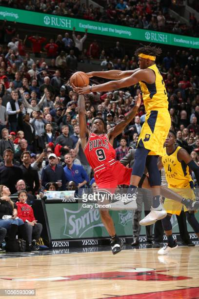 Myles Turner of the Indiana Pacers blocks a shot to seal the victory against the Chicago Bulls on November 2 2018 at the United Center in Chicago...