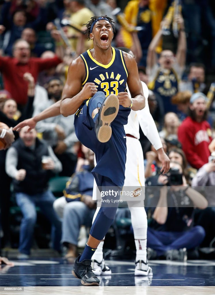 Myles Turner #33 of the Indiana Pacers celebrates celebrates during the 106-102 win over the Cleveland Cavaliers at Bankers Life Fieldhouse on December 8, 2017 in Indianapolis, Indiana.