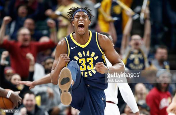 Myles Turner of the Indiana Pacers celebrates celebrates during the 106102 win over the Cleveland Cavaliers at Bankers Life Fieldhouse on December 8...