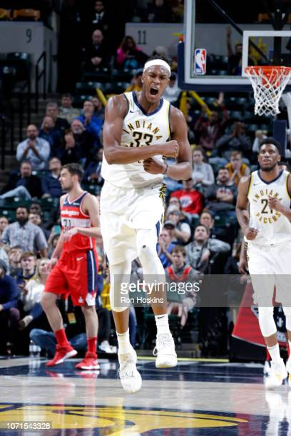 Myles Turner of the Indiana Pacers celebrates during the game against the Washington Wizards on December 10 2018 at Bankers Life Fieldhouse in...