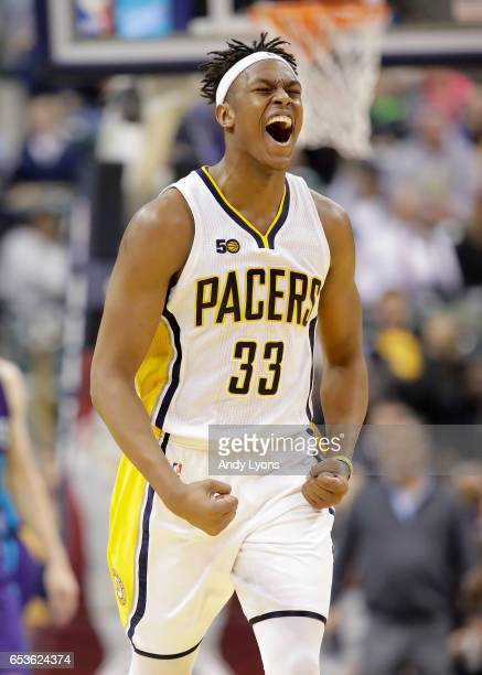 Myles Turner of the Indiana Pacers celebrates during the game against the Charlotte Hornets at Bankers Life Fieldhouse on March 15 2017 in...