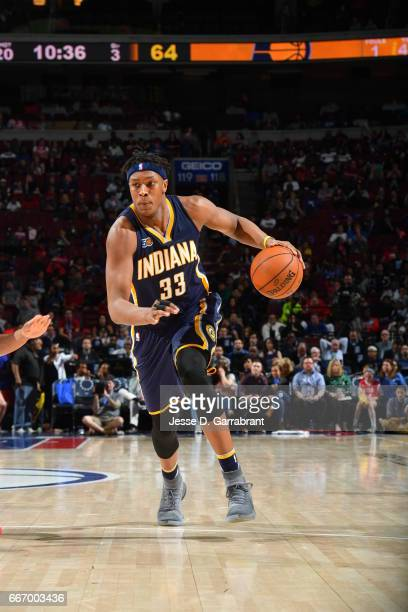 Myles Turner of the Indiana Pacers drives to the basket against the Philadelphia 76ers at Wells Fargo Center on April 10 2017 in Philadelphia...