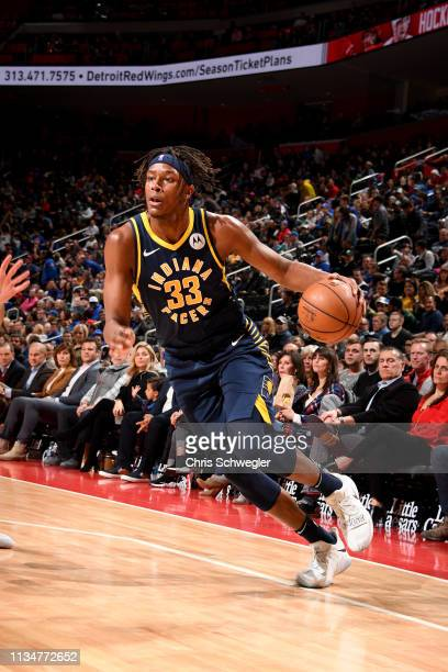Myles Turner of the Indiana Pacers drives to the basket during the game against the Detroit Pistons on April 3 2019 at Little Caesars Arena in...