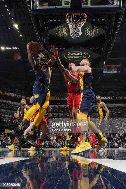 Myles Turner of the Indiana Pacers drives to the basket during the game against the Atlanta Hawks on February 23 2018 at Bankers Life Fieldhouse in...