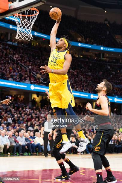 Myles Turner of the Indiana Pacers dunks against the Cleveland Cavaliers during the first half of Game 2 of the first round of the Eastern Conference...