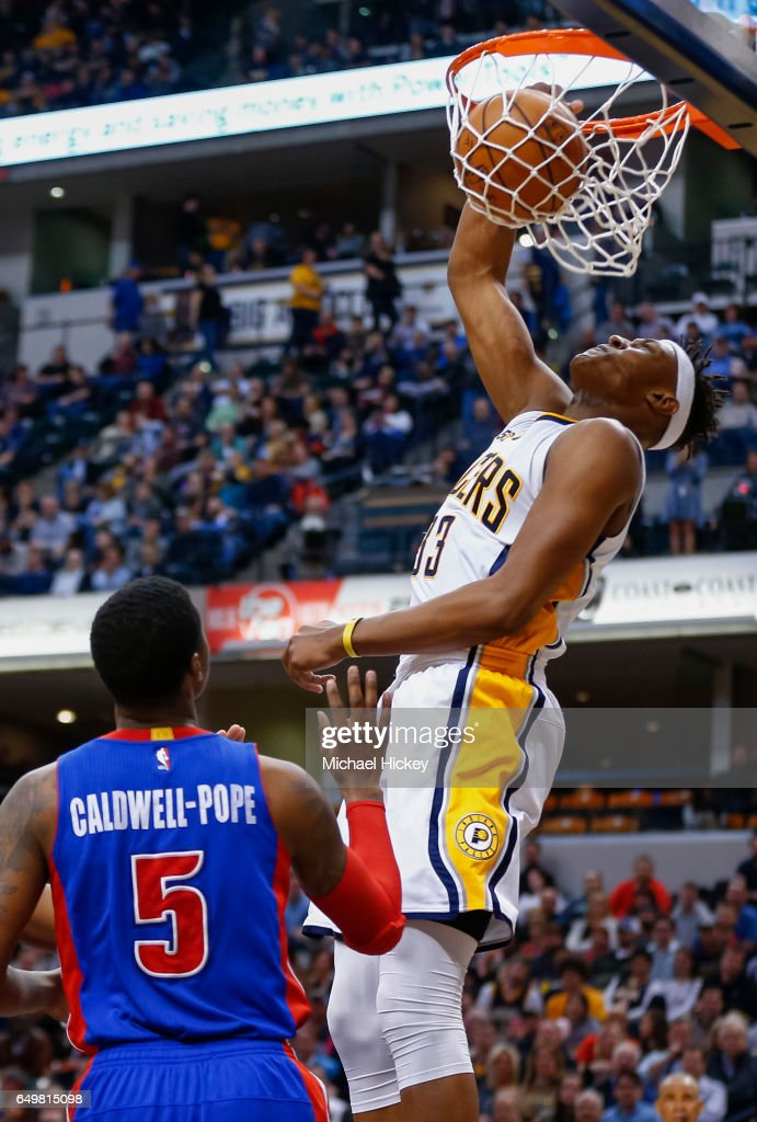 Myles Turner #33 of the Indiana Pacers dunks the ball against Kentavious Caldwell-Pope #5 of the Detroit Pistons at Bankers Life Fieldhouse on March 8, 2017 in Indianapolis, Indiana.