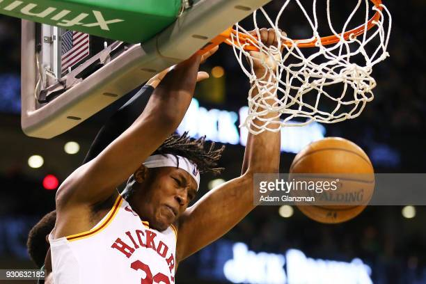 Myles Turner of the Indiana Pacers dunks the ball during a game against the Boston Celtics at TD Garden on March 11 2018 in Boston Massachusetts NOTE...