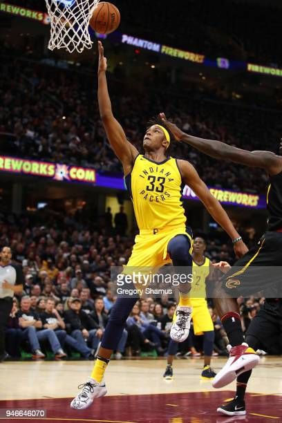 Myles Turner of the Indiana Pacers gets a first half shot off again the Cleveland Cavaliers during the first half in Game One of the Eastern...