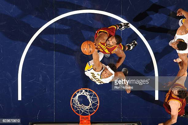 Myles Turner of the Indiana Pacers goes for the rebound against Tristan Thompson of the Cleveland Cavaliers during the game on November 16 2016 at...