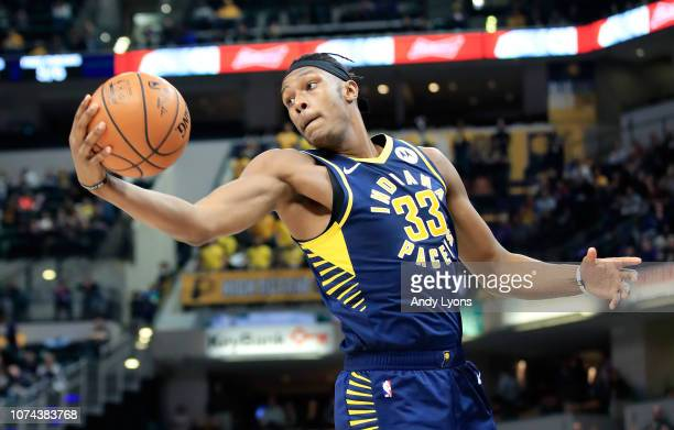 Myles Turner of the Indiana Pacers grabs a rebound against the Cleveland Cavaliers at Bankers Life Fieldhouse on December 18 2018 in Indianapolis...