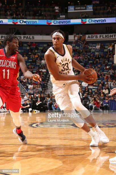 Myles Turner of the Indiana Pacers handles the ball against the New Orleans Pelicans on March 21 2018 at Smoothie King Center in New Orleans...