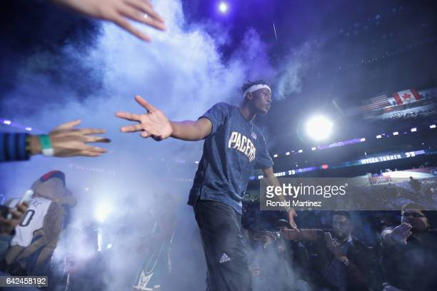 Myles Turner of the Indiana Pacers is introduced prior to the 2017 BBVA Compass Rising Stars Challenge at Smoothie King Center on February 17 2017 in...