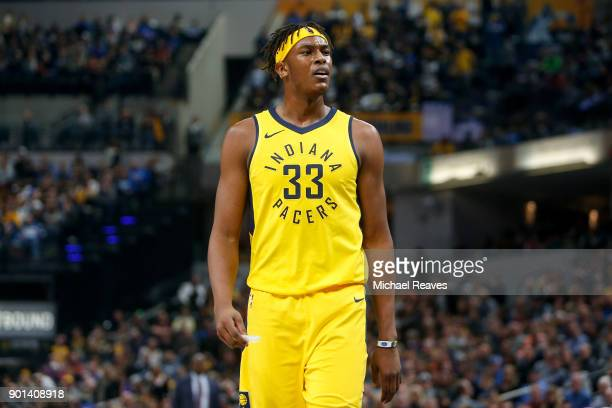 Myles Turner of the Indiana Pacers looks on against the Minnesota Timberwolves during the first half at Bankers Life Fieldhouse on December 31 2017...