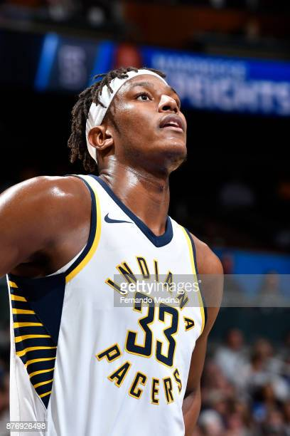 Myles Turner of the Indiana Pacers looks on against the Orlando Magic on November 20 2017 at Amway Center in Orlando Florida NOTE TO USER User...