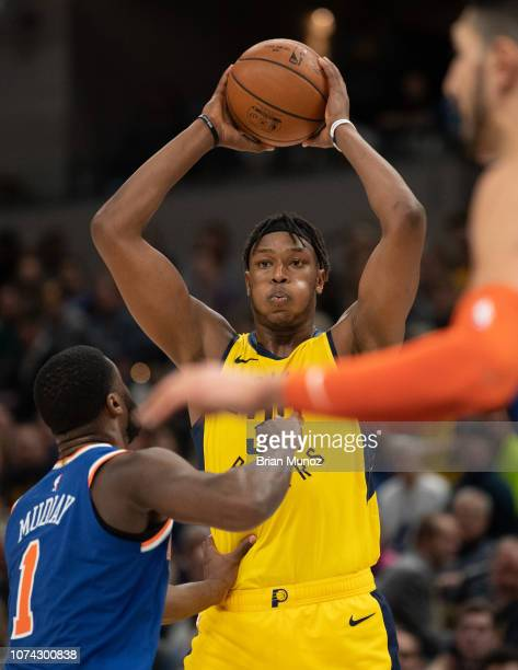 Myles Turner of the Indiana Pacers looks to pass the ball during the second half of the game against the New York Knicks at Bankers Life Fieldhouse...