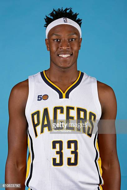 Myles Turner of the Indiana Pacers poses for a head shot during media day at Bankers Life Fieldhouse on September 26 2016 in Indianapolis Indiana...