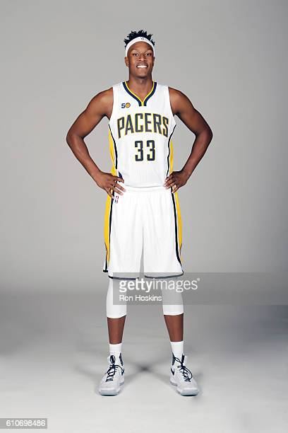 Myles Turner of the Indiana Pacers poses for a portrait during 2016 Media Day at Bankers Life Fieldhouse on September 26 2016 in Indianapolis Indiana...