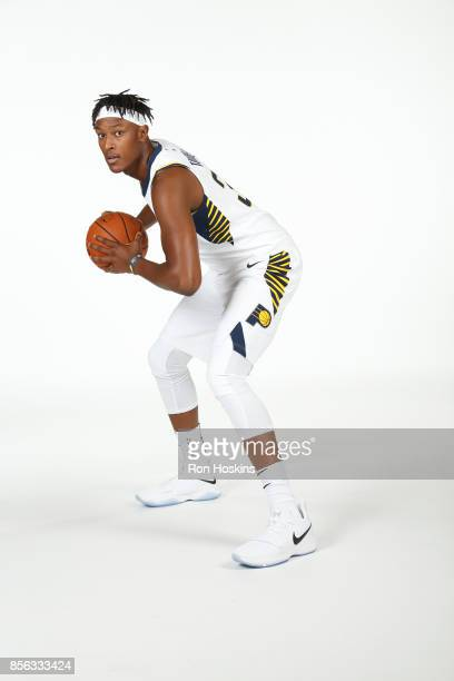 Myles Turner of the Indiana Pacers poses for a portrait during the Pacers Media Day at Bankers Life Fieldhouse on September 25 2017 in Indianapolis...