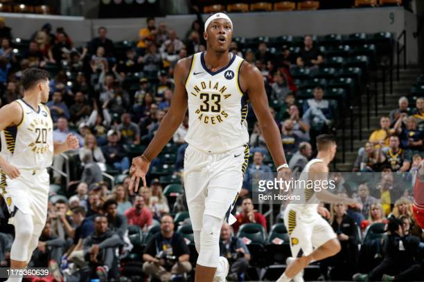 Myles Turner of the Indiana Pacers reacts against the Chicago Bulls during a preseason game on October 11 2019 at Bankers Life Fieldhouse in...