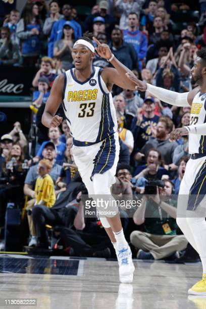 Myles Turner of the Indiana Pacers reacts against the Oklahoma City Thunder on March 14 2019 at Bankers Life Fieldhouse in Indianapolis Indiana NOTE...