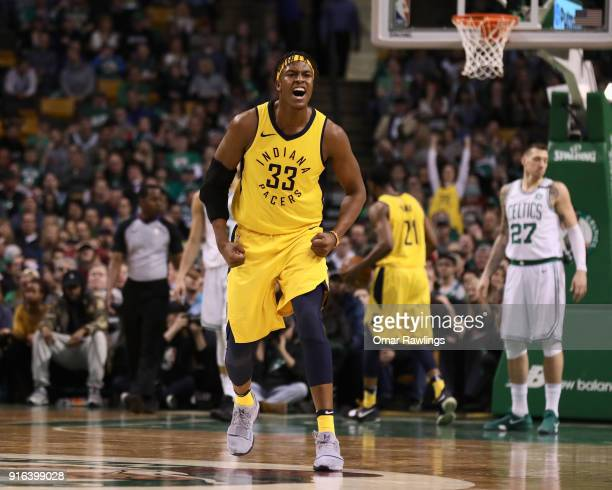 Myles Turner of the Indiana Pacers reacts during the fourth quarter of the game against the Boston Celtics at TD Garden on February 9 2018 in Boston...