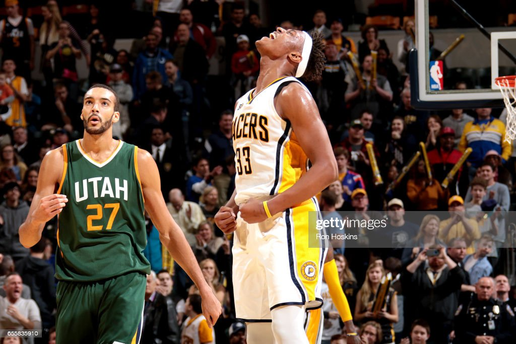 Myles Turner #33 of the Indiana Pacers reacts during the game against the Utah Jazz on March 20, 2017 at Bankers Life Fieldhouse in Indianapolis, Indiana.