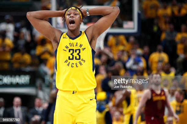 Myles Turner of the Indiana Pacers reacts in the second half of game three of the NBA Playoffs against the Cleveland Cavaliers at Bankers Life...