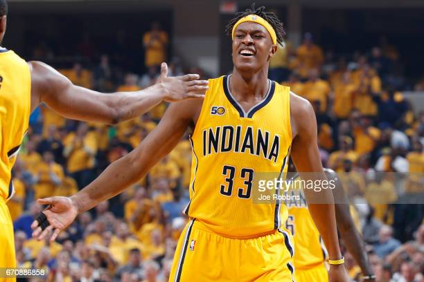 Myles Turner of the Indiana Pacers reacts in the second quarter of Game Three of the Eastern Conference Quarterfinals during the 2017 NBA Playoffs...
