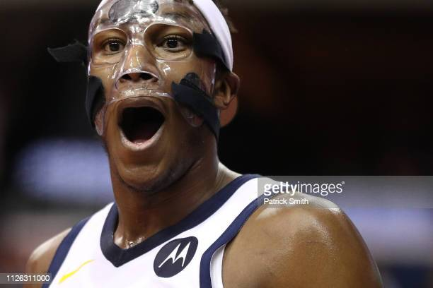 Myles Turner of the Indiana Pacers reacts to a call against the Washington Wizards during the second half at Capital One Arena on January 30 2019 in...