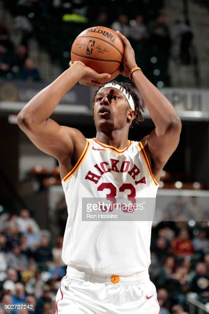 Myles Turner of the Indiana Pacers shoots a free throw against the Milwaukee Bucks on January 8 2018 at Bankers Life Fieldhouse in Indianapolis...