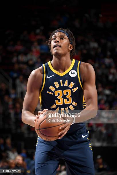 Myles Turner of the Indiana Pacers shoots a free throw during the game against the Detroit Pistons on April 3 2019 at Little Caesars Arena in Detroit...