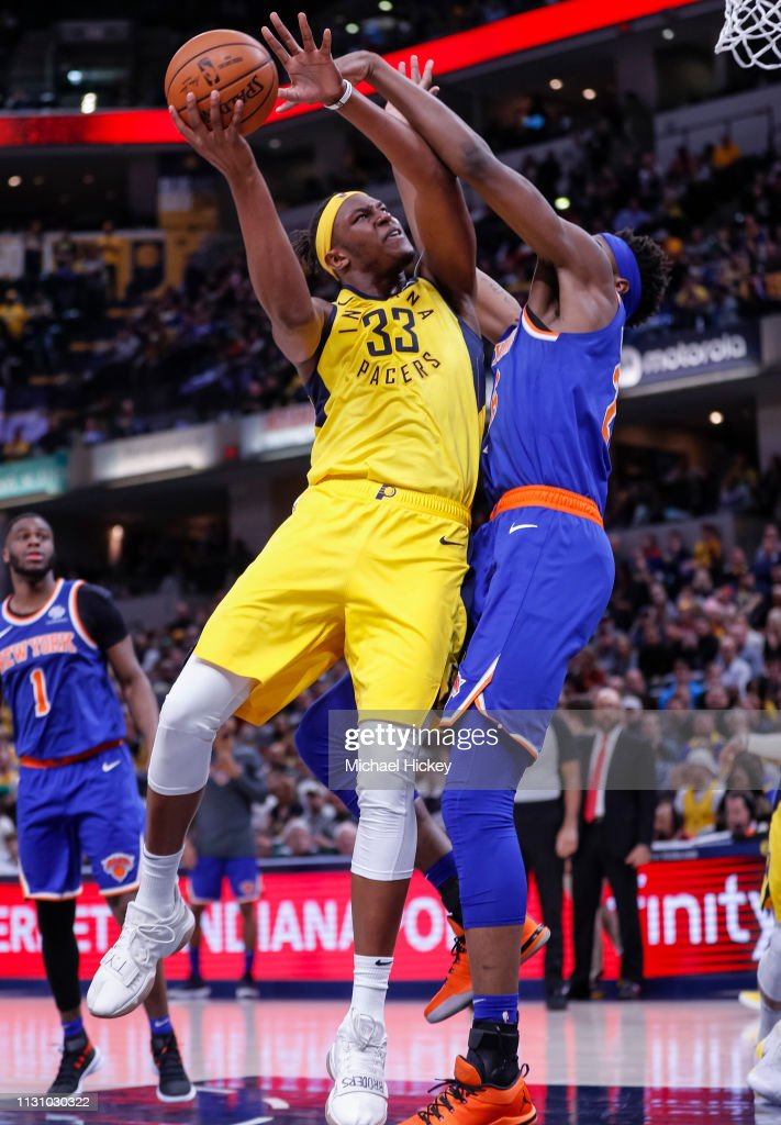Myles Turner of the Indiana Pacers shoots the ball against