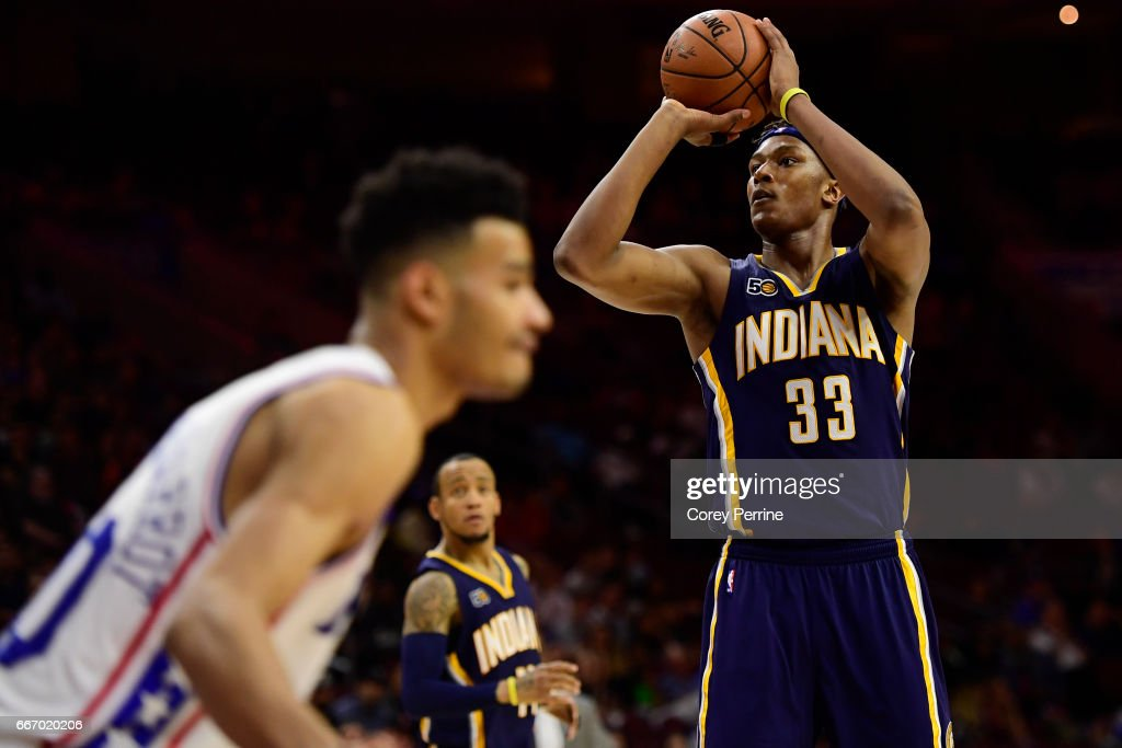 Myles Turner #33 of the Indiana Pacers shoots the ball against the Philadelphia 76ers during the fourth quarter at the Wells Fargo Center on April 10, 2017 in Philadelphia, Pennsylvania. The Pacers won 120-111.