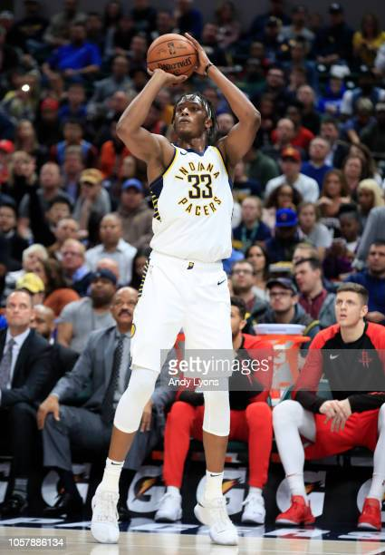 Myles Turner of the Indiana Pacers shoots the ball against the Houston Rockets at Bankers Life Fieldhouse on November 5 2018 in Indianapolis Indiana...