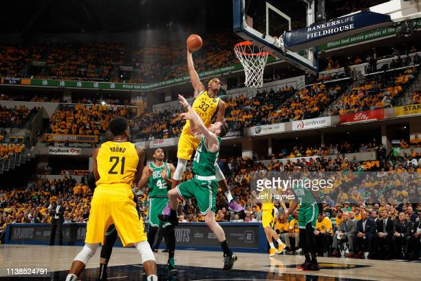 Myles Turner of the Indiana Pacers shoots the ball against the Boston Celtics during Game Four of Round One of the 2019 NBA Playoffs on April 21 2019...