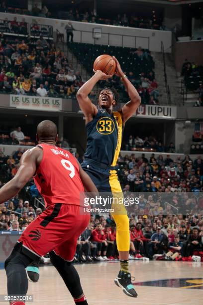 Myles Turner of the Indiana Pacers shoots the ball against the Toronto Raptors on March 15 2018 at Bankers Life Fieldhouse in Indianapolis Indiana...