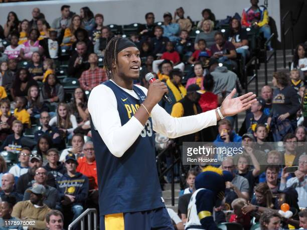 Myles Turner of the Indiana Pacers talks to fans during Fan Jam on October 13 2019 in Indianapolis Indiana NOTE TO USER User expressly acknowledges...