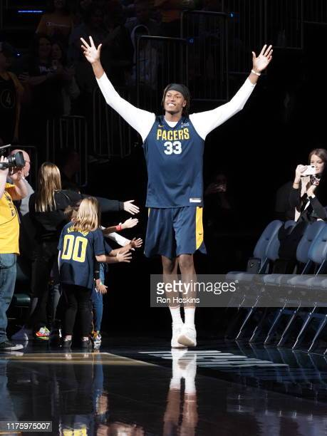 Myles Turner of the Indiana Pacers walks on to the court during Fan Jam on October 13 2019 in Indianapolis Indiana NOTE TO USER User expressly...