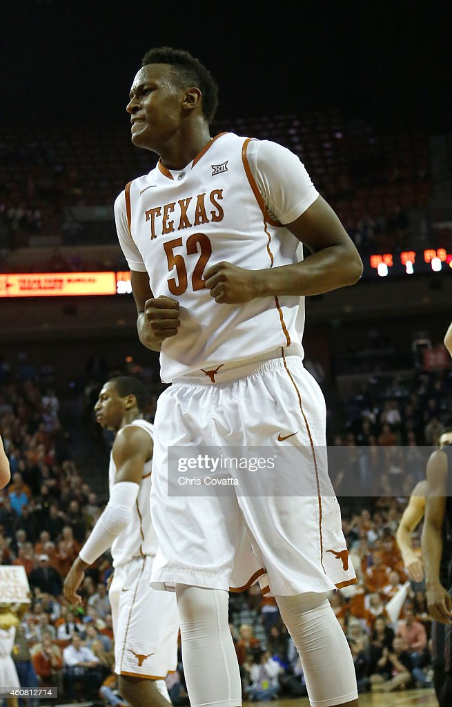 Myles Turner #52 of the Texas Longhorns reacts after committing a foul late in the game against the Stanford Cardinal at the Frank Erwin Center on December 23, 2014 in Austin, Texas.