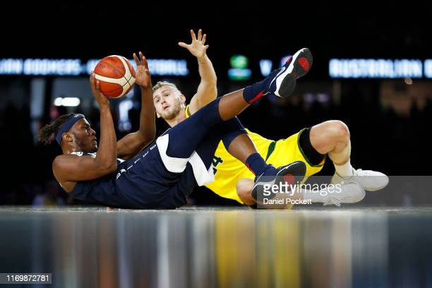Myles Turner of the USA and Jock Landale of the Boomers contest the ball during game two of the International Basketball series between the...