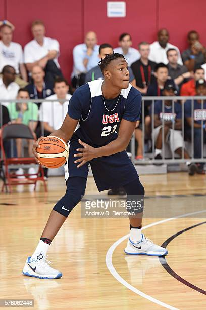 Myles Turner of the USA Men's Select Team dribbles the ball during practice on July 19 2016 at Mendenhall Center on the University of Nevada Las...