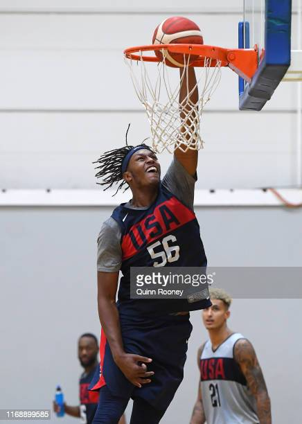 Myles Turner of the USA trains during the United States of America Team USA National basketball team training session at Melbourne Sports and Aquatic...