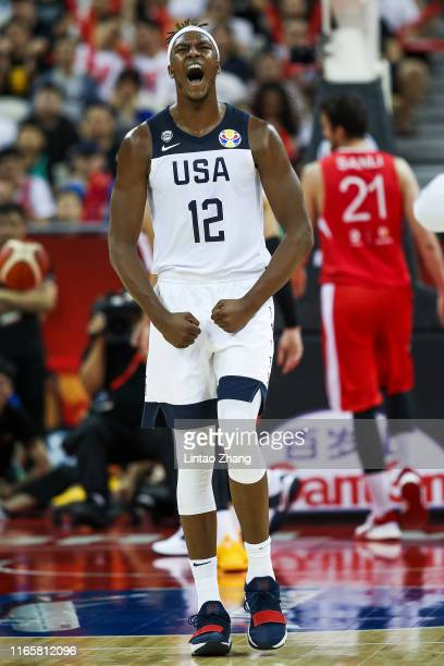 Myles Turner of USA reacts during the 1st round Group E match between USA and Turkey of 2019 FIBA World Cup at the Oriental Sports Center on...