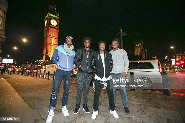 Myles TurnerRakeem Christmas Lavoy Allen of the Indiana Pacers and Malik Beasley of the Denver Nuggets poses for a photo as part of 2017 NBA London...