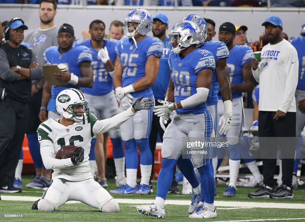 Myles White #16 of the New York Jets makes a fourth quarter catch as signals for a first down during the fourth quarter of the preseason game on August 19, 2017 at Ford Field in Detroit, Michigan. The Lions defeated the Jest 16-6.